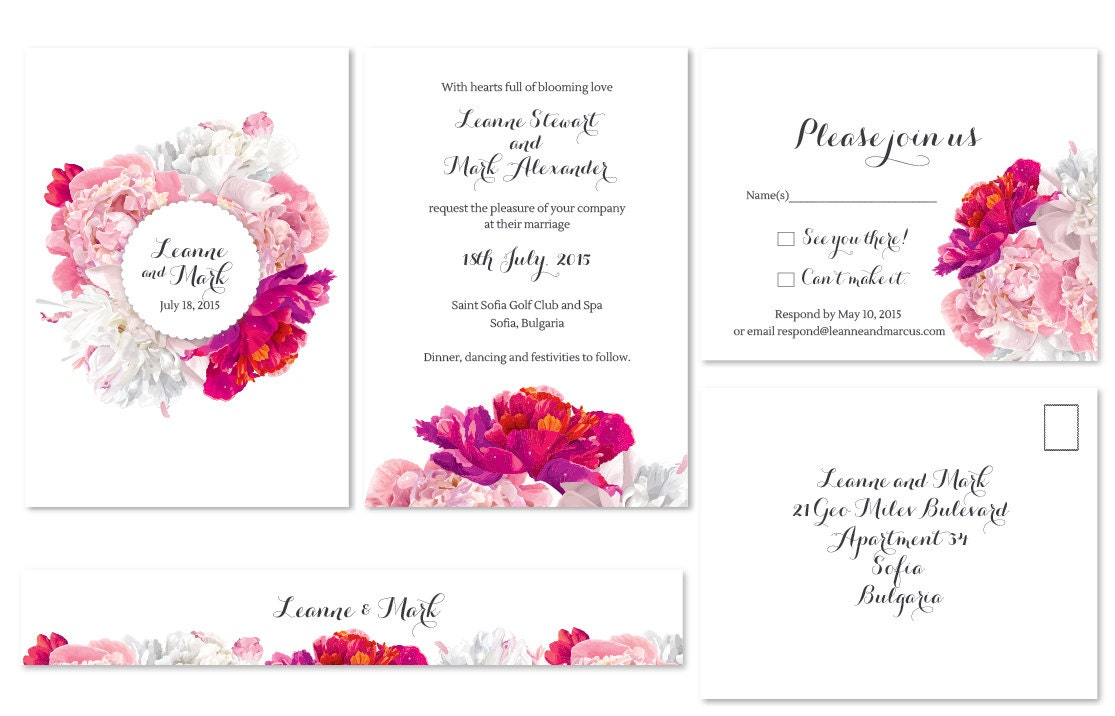 White Pink And Fuschia Peonies Bouquet Modern Wedding Invitations