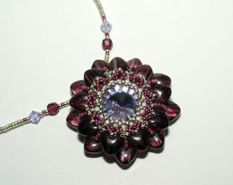 Beadwork Swarovski Flower Pendant with Beaded Necklace , Beadwoven,Handmade ,