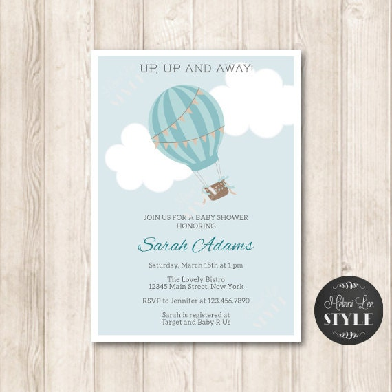 Hot Air Balloon Baby Shower Invitation, Baby Boy, Sky Blue, Printable