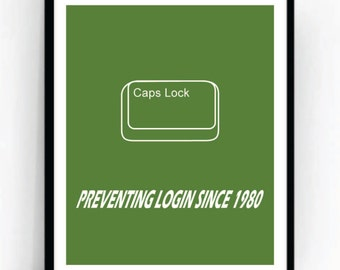 Caps Lock Art Print For Geeks, Wall Art Decor,Office Quote Computer Coding Programming Nerd Design Software