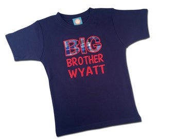 Boy's 'Big Brother' Shirt with Madras Plaid and Embroidered Name - M27
