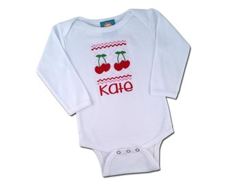 Girl's Baby Sweet Cherry Bodysuit with Embroidered Name