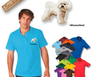 Polo shirt cotton embroidered embroidery dog BICHON FRISÉ + own words