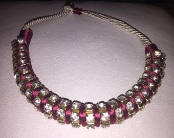 Birdeaux necklace with large rhinestone and natural cord