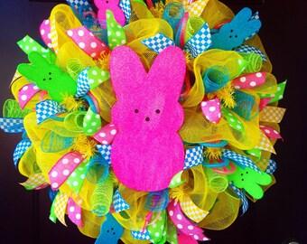 Welcome Peeps! Deco Mesh Easter Wreath