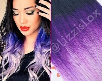 "Gorgeous Clip In REMY Human Hair Extensions 20"" Black to Purple to Lilac Ombre Dip Dye Balayage 100-180g Satisfaction Guarantee!"