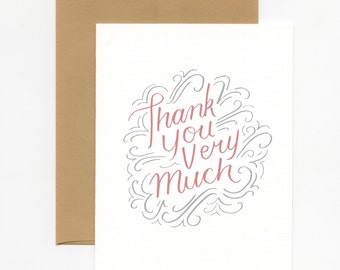 Hand Lettered Flourished Thank You Card (Pack of 3)