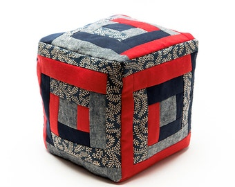 Quilted Cubic Log Cabin Cushion Red and Blue