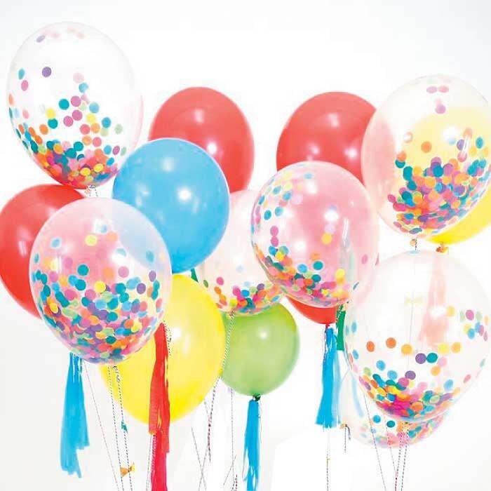 Confetti Balloons (set of 8), Rainbow Confetti Decor, Meri ...