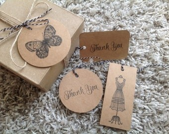 kraft cardstock tags, large kraft tags, thank you tags, dress form tags