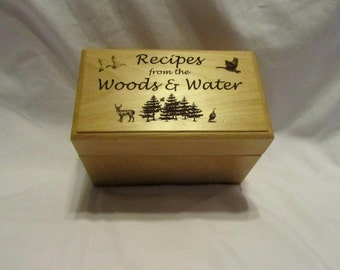 Personalized Wooden Recipe Box- Wild Game Recipes 4x6
