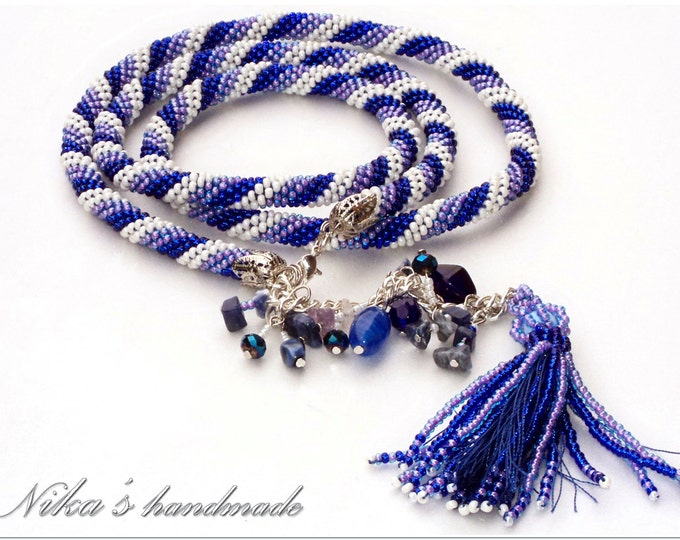 """Women blue belt-lariat """"Winter Mood"""" (length 84 см+chain length 9 см) with Czech beads, crystals and natural stones"""