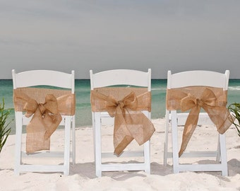 Chair Sash - Rustic Wedding Chair Sash - Burlap Chair Sash - Beach Wedding Chair Sash - Chair Swag - Set of 12