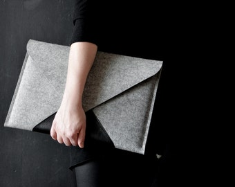 "MacBook 15"" Pro RETINA / 15"" PRO case full grain italian leather wool felt light grey + black perfect protection"
