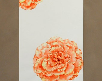 "Watercolor painting, Orange Flower, office decor wall art, floral painting, original art, hand painted art, hand painting, art, 13"" x 22"""