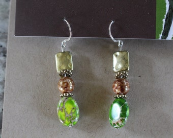 Lime green and gold beaded earrings