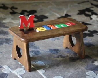 Personalized Name Puzzle Step Stool - PICK YOUR FINISH - First Birthday, Christmas Baby Gift, Baby Shower, New Baby Gift, Educational Toy