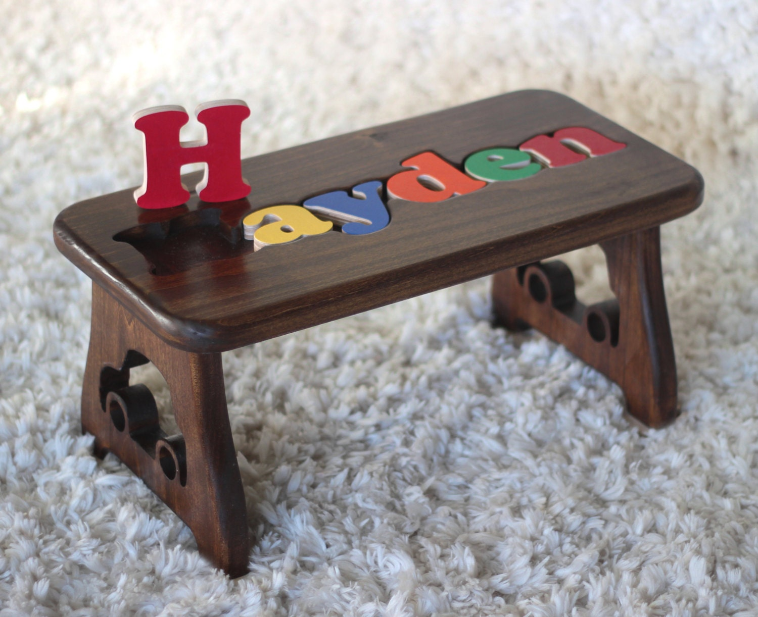 Hardwood Name Puzzle Stool Dark Walnut First Birthday