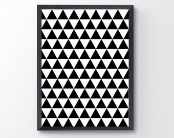 Triangle pattern poster / 8x10 / black and white / printable / digital download