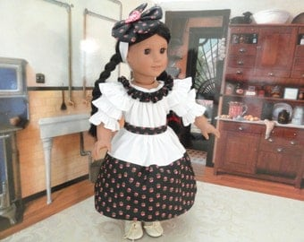 Handmade Floral Outfit to fit 18 in. Historical Dolls such as american girl doll clothes Josefina