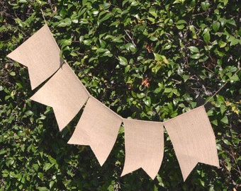 Burlap Banner Garland Natural, Rectangular, 8-Inch,  5-pack