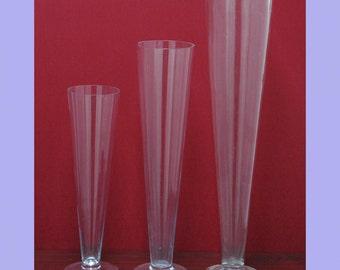 """Clear Trumpet Glass Vase Wedding Centerpiece, 16"""" 20"""" 24"""""""