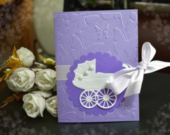 Baby Buggy invitations Boy Girl baby shower, baptism, christening, birthday