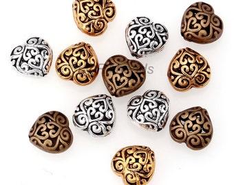 20pcs Antique Silver/Gold/Bronze Alloy Heart Hollow Beads