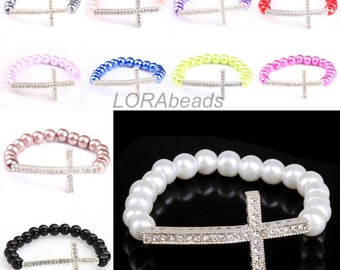 1pc Charm Stretchy Bright Glass Pearl Bracelet Set One Crystal Cross Fit Party