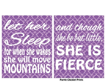 and though she be but little she is fierce Purple Lilac Decor Damask Wall Art Let her sleep She Will Move Mountains Inspirational Prints 229