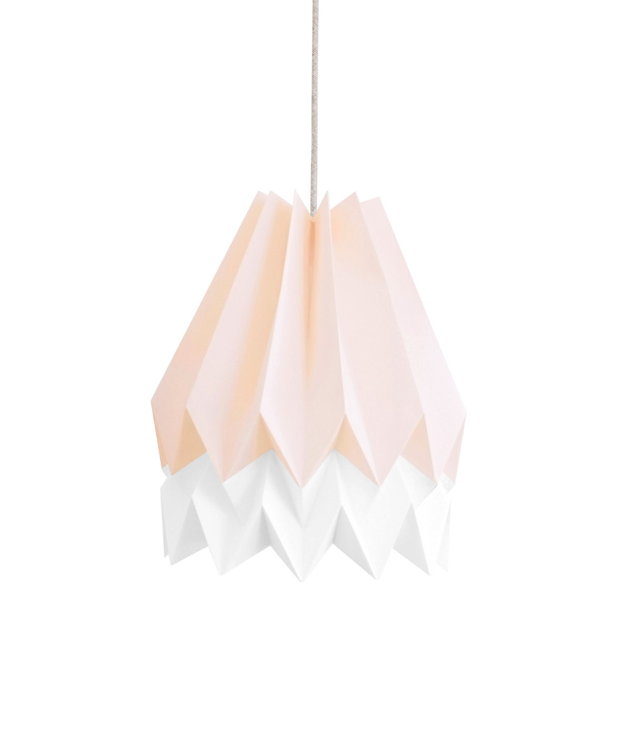 Pendant Light Origami Lamp Paper Shade Pastel Pink With