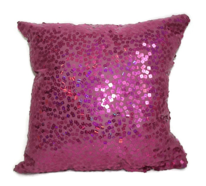 Pink Sequin Decorative Pillows : Fuschia Pink Sequin Pillow Decorative Pillows by MademoiselleJoli