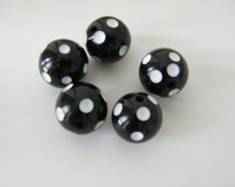 Bead, acrylic, black and white, 16mm round with dots. Sold per pkg of 15