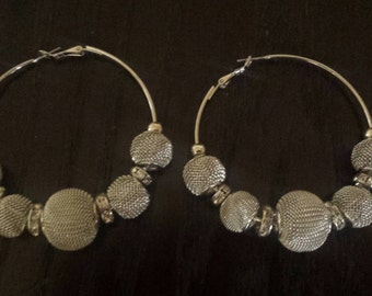 Silver Basketball Wives Hoop Earrings Gifts for Her Statement Earrings Big Hoop Earrings Chunky Earrings