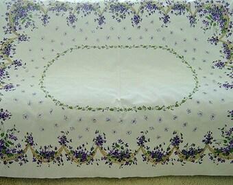 Vintage California Handprints Tablecloth ~ Violets