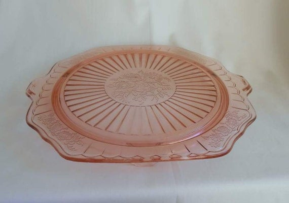 Mayfair Open Rose Footed Cake Plate Hocking Glass 1931-1936