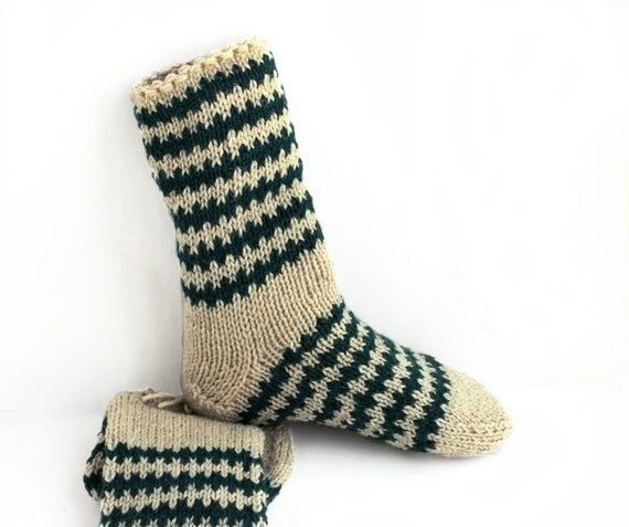 Items similar to Mens wool socks. Chunky hand knitted ...
