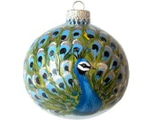 Hand Painted Christmas Ornament Glass Ball Peacock Bird Hand Painted Ornaments Christmas Ornaments Painted Glass Custom Personalized Blue
