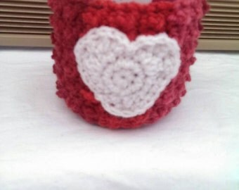 Red Stripe with White Heart Mug Cozy/Mug Hug