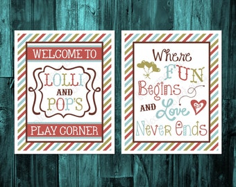 Grandparents Playroom Decor, grandkids wall art, Welcome to lolly and pop's play corner, where fun begins and love never ends printable sign