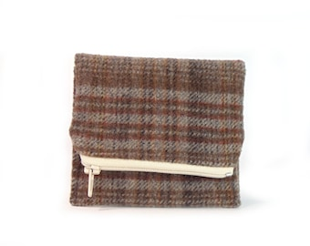 Wallet - Coin Purse - Simple Wallet - Zipper Coin Pouch - Unisex - Travel Pouch - Brown - Plaid - Fabric Wallet - Up-Cycled - Wool - Muslin