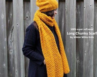 SOFT WOOL SCARF, Long knit scarf, mustard yellow scarf, 100% soft new wool, handknit scarf, womens fashion accessories, soft and cozy