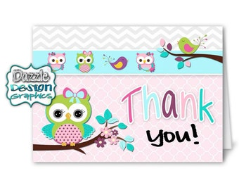 Chevron owls | aqua, purple, pink, lime and teal THANK YOU notecard | M2M made to match coordinating matching notecard #034 Instant Download