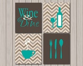 Kitchen Decor - Gift for Mom - Gift for Friend - Birthday Gift - New Home - Chevron -  Available in Any Color - Set of Four Art Prints