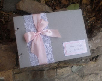Pink and grey guest book-Lace  guest book-wedding album