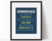 Superhero Rules Print - Superhero Typography Print, Superhero Quote, Boys Room, Superhero Nursery, Superhero Playroom, Girls Room