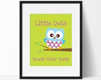 Owl Decor - Owl Bathroom Decor - Little Owls Take A Bath - Kids Bathroom Decor - Child Bathroom Art - Owl Bathroom - Choose Colors, Size