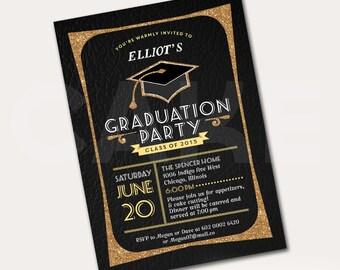 Graduation party invite, Printable Grad party invite, Class of 2015 invite, Graduation invites, Graduation party invitation, gold graduation