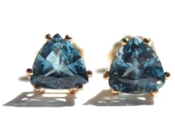 Triangular Blue Topaz Earrings (1699)