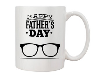 Happy Father's Day Mug, Spectacles 11oz Coffee Mug Gift for Dads